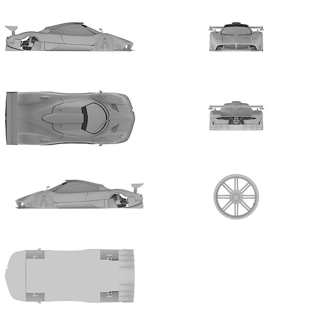 4k Ultra HD high resolution blueprint of Pagani | Zonda R