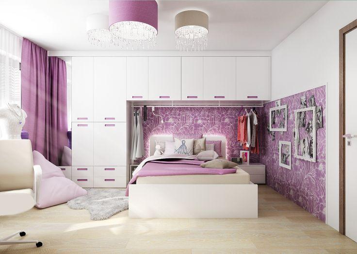 Fotorealistická vizualizace pokoje pro dospělou slečnu, která má ráda barvy, šperky a chce mít dostatek úložných prostorů pro své módní kousky.  www.liniedesign.cz