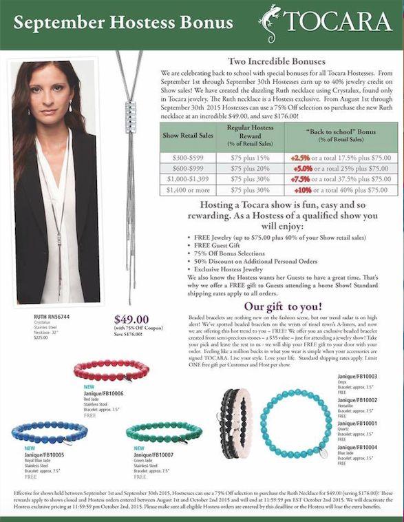 September Hostess Bonus!  What more FREE jewelry!  Let me spoil you :)