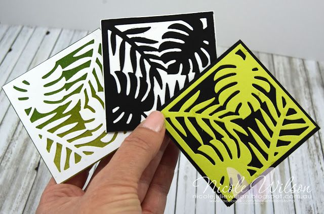 Nicole Wilson Independent Stampin' Up!® Demonstrator Mini note cards using tropical elements thinlits #stampinup #onstage #onstage18 #stampinup30 #nicolewilsonstamp #leaves #tropicalelements #displaystamper