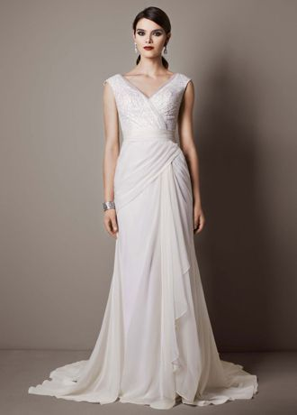 Step back in time with this gorgeous chiffon sheath wedding gown reminiscent of Old Hollywood glamour!  Deep V necklinebodice features sparkling sequin tulle detail.  Chiffon light weight gown with side draped createsa stunning and flattering silhouette  Sizes 0-14. Chapel train.  Ivory and White availablein store only.  Fully lined. Back zip. Imported polyester. Dry clean. To preserve your wedding dreams, try our Wedding Gown Preservation Kit.