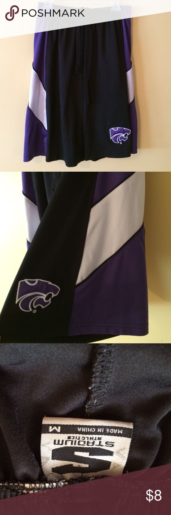 "Kansas State Men's Gym Shorts Nice K-State men's shorts. One spot 3"" long where stitching has come undone as shown in 4th pic. Good condition other than that. Stadium  Shorts Athletic"