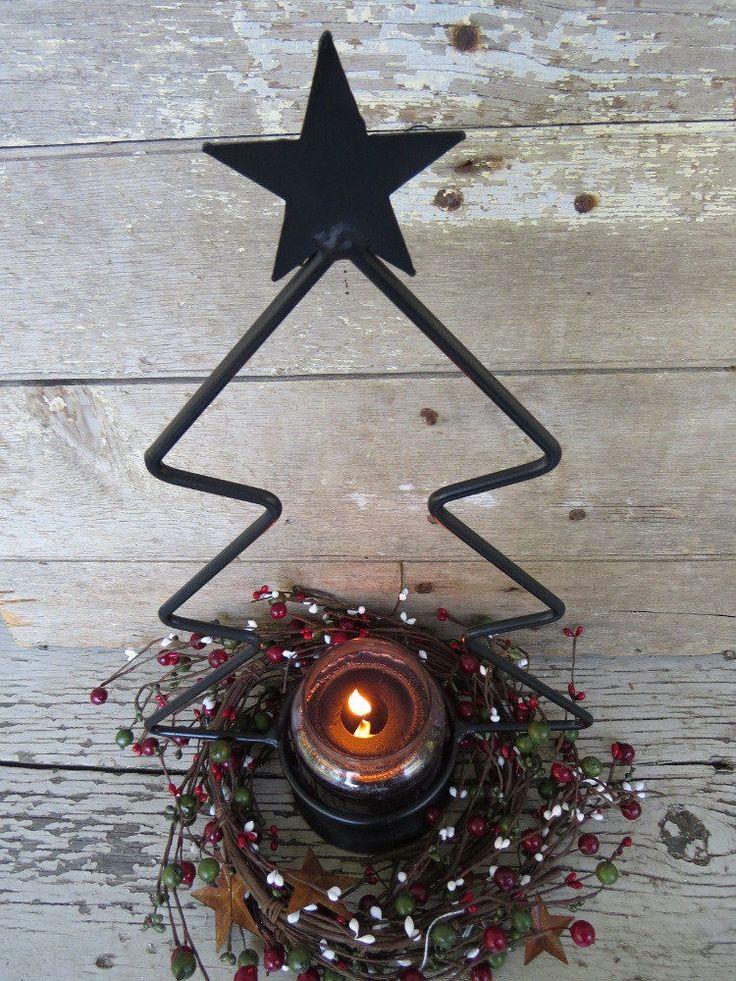 Yankee jar pillar candle holder primitive wrought iron for Christmas pillar candle holders