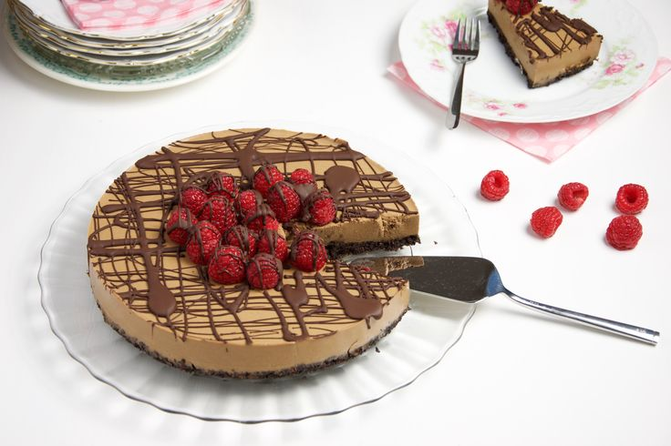 """No bake"" koffie en pure chocolade vla taart"
