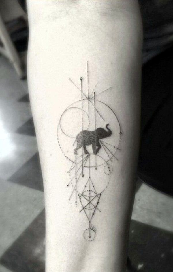 Lovely and Cute Elephant Tattoo Design (38)