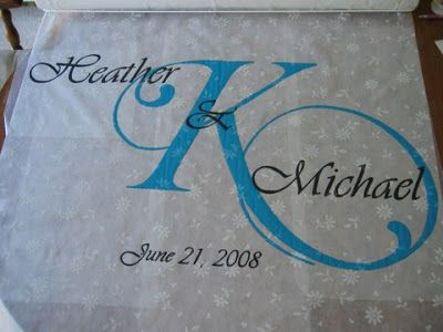 I am a true DIY (do-it-yourself!) bride! I just completed my first project today. I decided to do a monogrammed aisle runner for the church....
