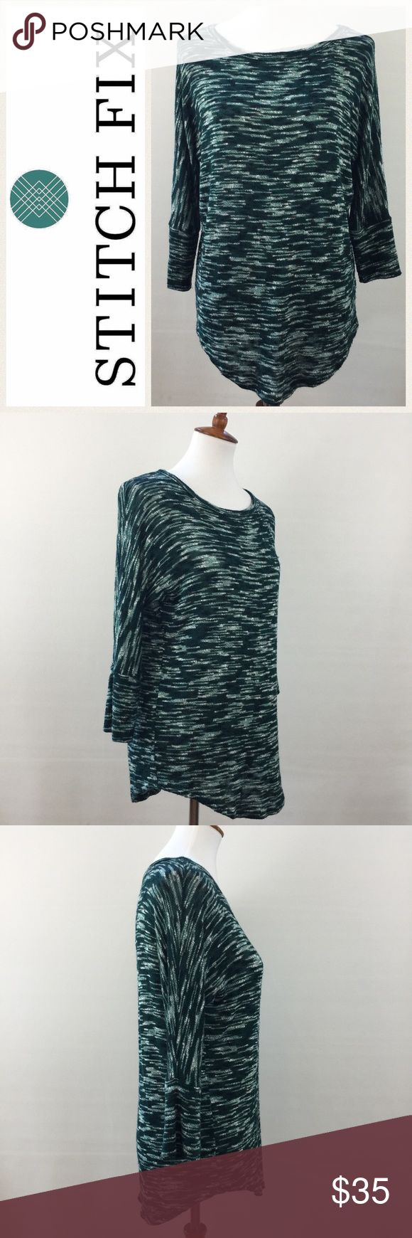 """Market & Spruce Sawyer Space Dye Dolman Knit Top EUC.  Market & Spruce Stitch Fix dolman sleeve knot top.  Dark green multi colored knit.  Curved hem.  3/4 length sleeves.  Logo and last photo are internet stock photos and for style purposes only.  Item is NOT grey.  Measurements are as follows and approximate, taken while garment was laying flat.  Underarm to underarm:  21"""".  Shoulder to hem:  25""""-27"""". Market & Spruce Tops"""