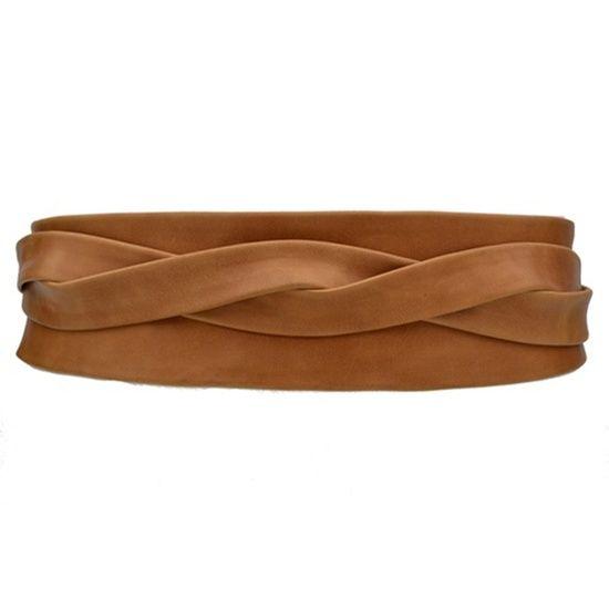 leather wrap belt caramel