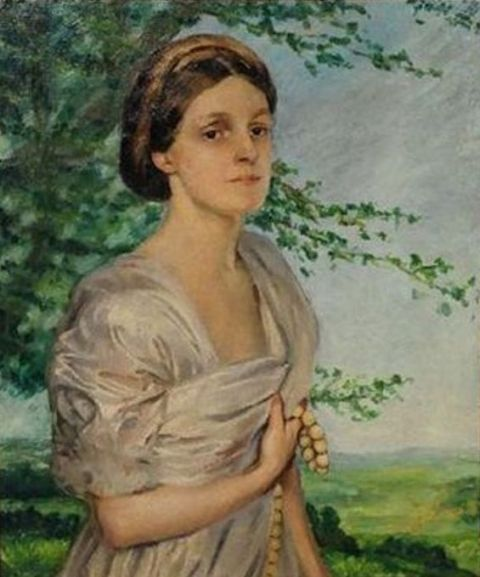 Augustus Edwin John - Portrait of a woman in a landscape