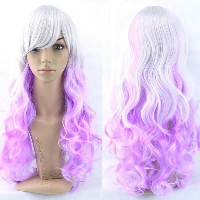 Soowee 70cm Long Curly Pink Blue Green Colorful Synthetic Hair Full Party Hairpiece Cosplay Wigs