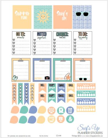Surf's Up Planner Stickers | Free printable, for personal use only.