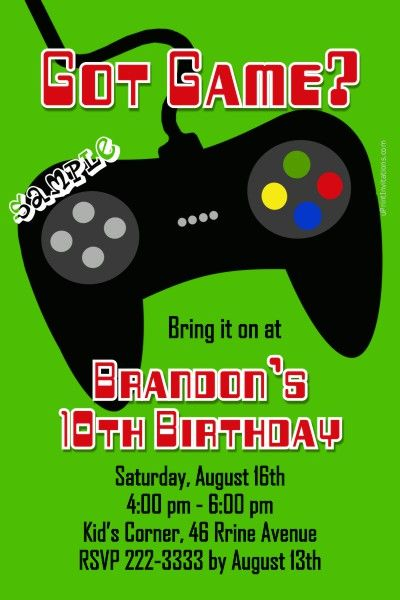 Video Game Controller Birthday Invitations Any Color Get These