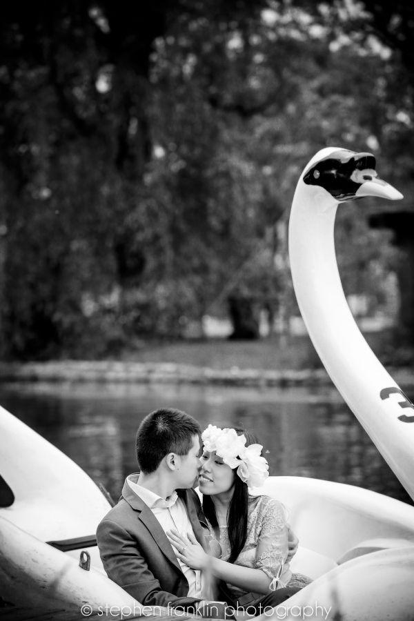 Couple Swan Boat Ride