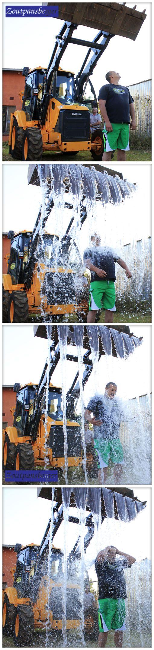 12 September 2014 - Oswald Eveleigh van Makhado (Louis Trichardt) het groot gegaan met sy uitdaging, en 'n tru-grawer gekry om water oor hom uit te gooi vir sy ysbakuitdaging.