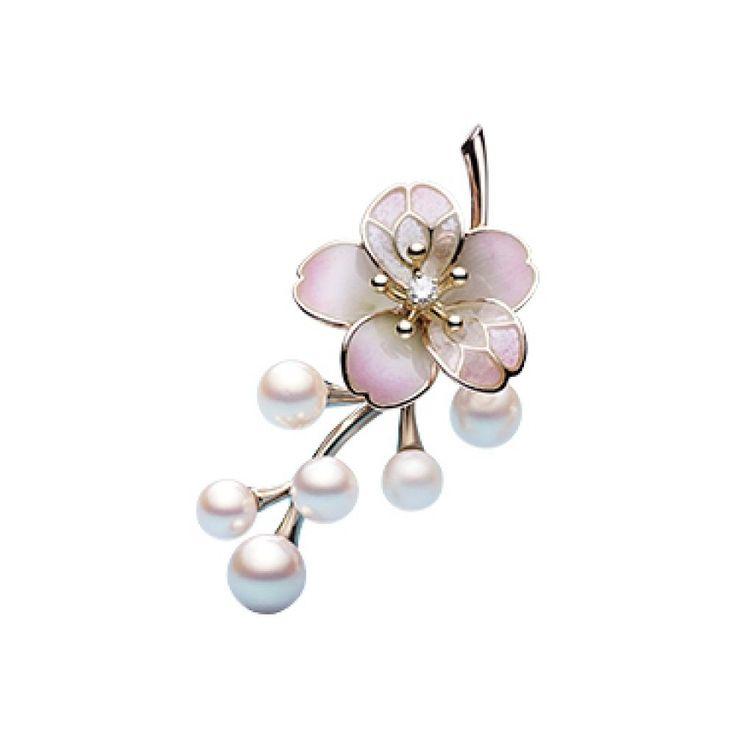 Mikimoto Sakura Akoya Pearl Diamond Brooch Cherry Blossom JAPAN Gift EMS F/S #Mikimoto