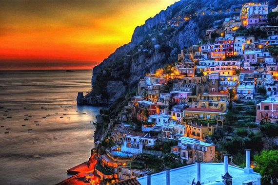 Night Positano Canvas Italy Wall Art Italy Poster Italy Etsy Italy Honeymoon Italy Pictures Italy Poster