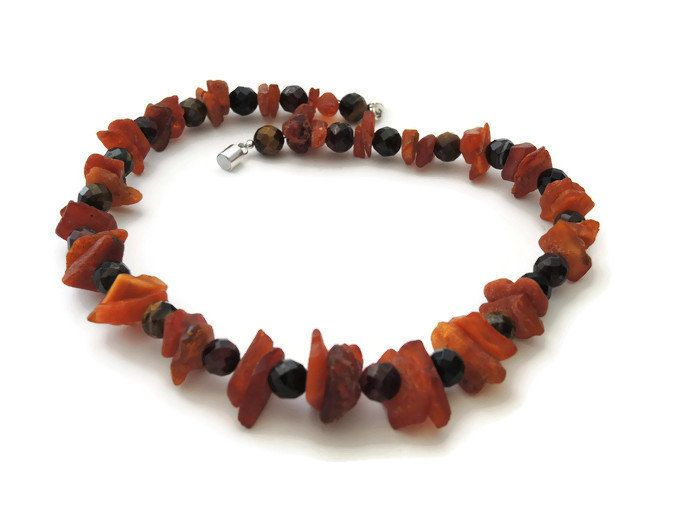 Orange brown amber tigereye necklace, handmade beaded choker of amber, tigereye, finished with a magnetic clasp - pinned by pin4etsy.com