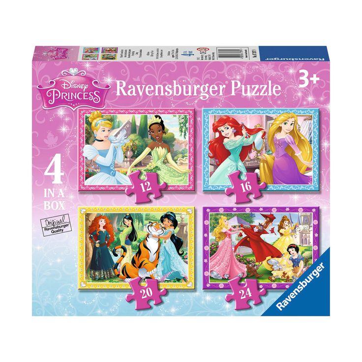 4 Disney Prinses puzzels in 1 doos! De puzzels bestaan uit 12, 16 en 20 en 24 stukjes. Zo leer je spelenderwijs steeds moeilijkere puzzels te leggen! Afmeting: 19 x 14 cm - Disney Prinses Puzzel, 4in1