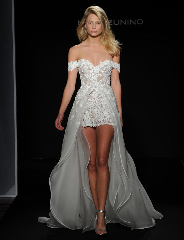 Mark Zunino Fall 2016 floral laser cut lace over nude romper with triple chiffon layered overskirt | https://www.theknot.com/content/mark-zunino-wedding-dresses-bridal-fashion-week-fall-2016