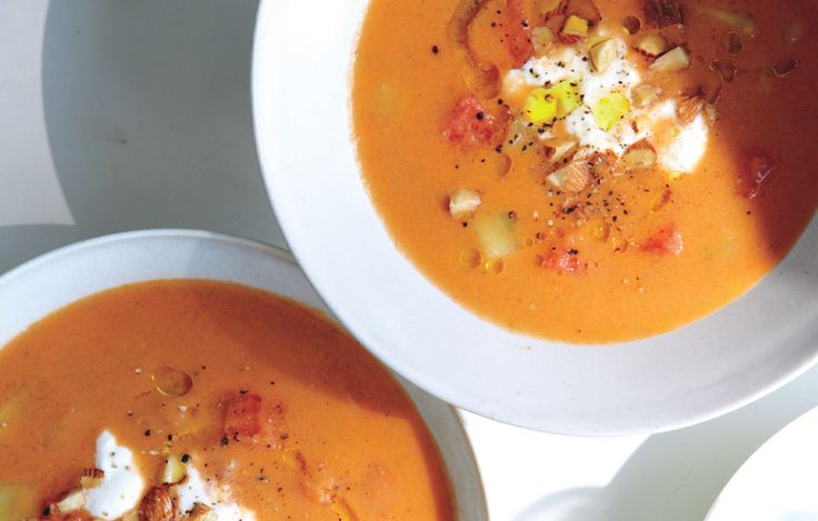 Watermelon Gazpacho with Feta Crema | Recipe | Gazpacho, Bon appetit ...