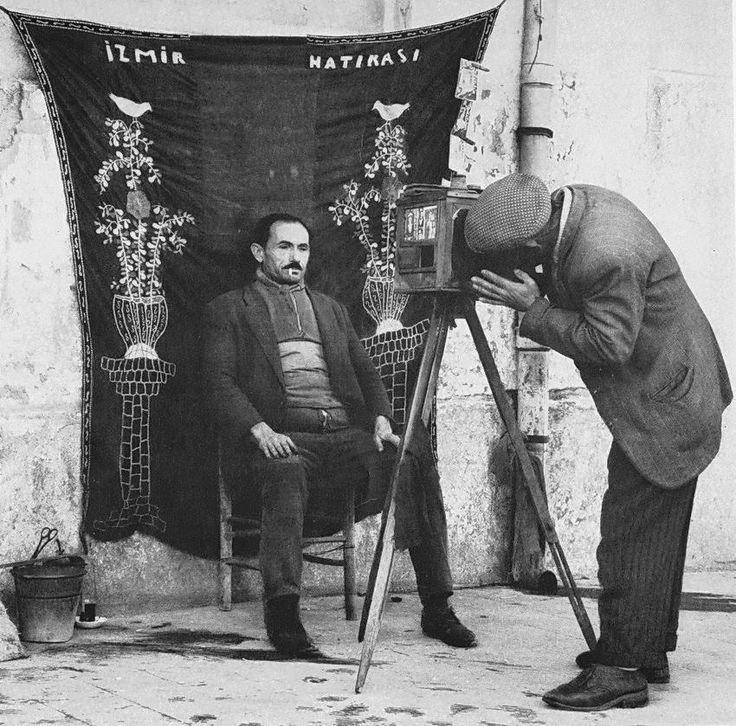 FOTOĞRAFÇI (photographer).  Having his picture taken, as souvenir.  Izmir, 1925-1950.& Orhan GENEL