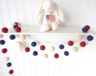 Fourth of July Garland, July 4th Decoration Felt Ball Garland, 4th of July Party Decor, Vintage, Red White Blue, Independence Day, Americana
