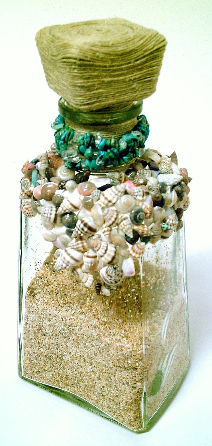 Sunset Beach - Jose Cuervo bottle, covered with seashells, turqoise beads & hemp twine. Filled with sand from the North Shore of Oahu.