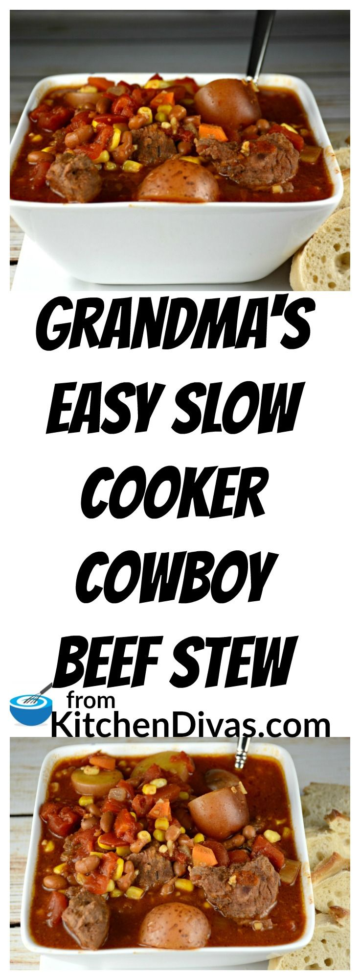 This recipe for my Grandma's Easy Slow Cooker Cowboy Beef Stew is a winter staple around here. Perfect for cooler days or if you just want an easy meal to prepare in the morning and eat at night. My grandmother used to cook this all day on low and it was always so yummy! I didn't realize how easy this satisfying meal was until I was older. Lots of beef, potatoes and vegetables! Yummy!
