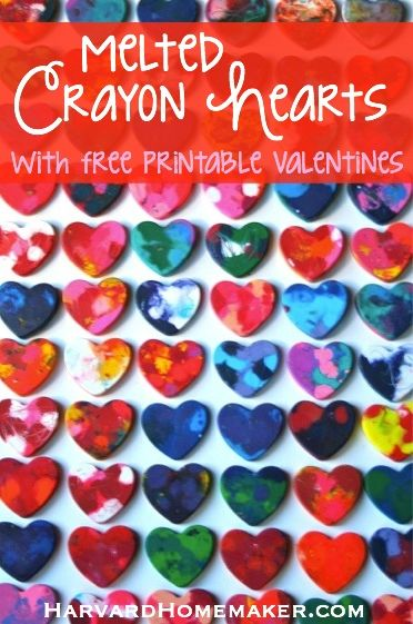 Melted Crayon Hearts with Free Printable Valentines by Harvard Homemaker