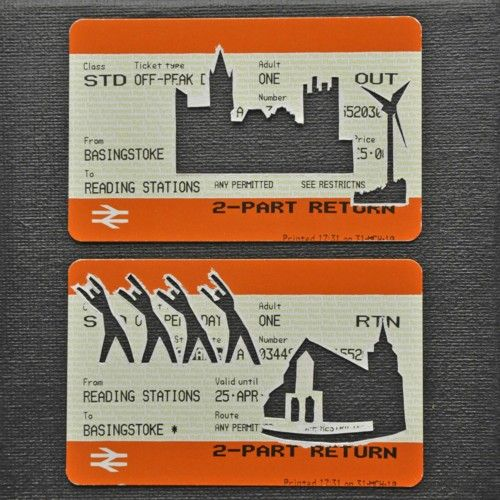 "Please Mind The Gap: Basingstoke To Reading Day Rtn    Cut Out Train tickets on canvas  2011   5""x 4""    £90 including frame"