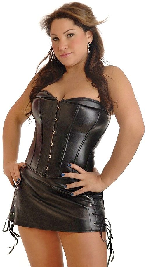 Plus Size Vegan Leather Corset And Skirt Leather Corset