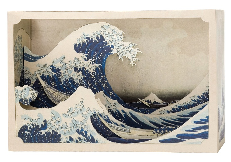 "Diorama ""La grande Vague de Kanagawa"" d'Hokusai en papier découpé par Tatebanko"