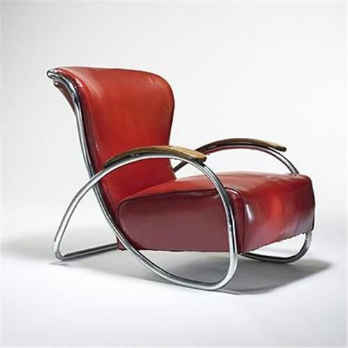 Kem Weber chair. Art Moderne -- Art Deco would have used a wood [mahogany] frame. Moderne is same clean geometric shapes, but would have been open to new [and less expensive] materials like chrome