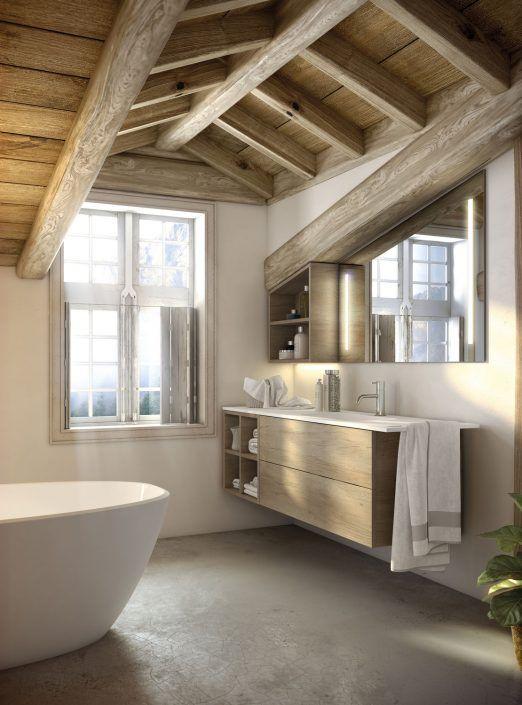 Muebles de baño personalizados, hechos a medida.  PLANTEAMIENTO 1. Adaptar el mueble a dificultades  arquitectónicas: buhardillas, pilares, etc. 2. Eficacia de almacenaje del conjunto. SOLUCIÓN 1. Crear un mueble a medida según necesidad. 2. Grandes cajones, huecos vistos. Aprovechamiento máximo de espacios.