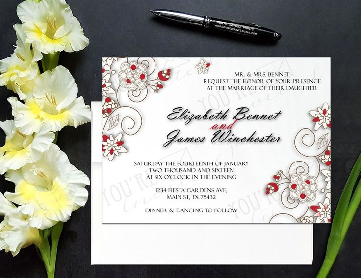 20 best wedding invitations images on pinterest invite 5x7 cardstock elegant gray floral wedding invitation via youre invited prints stopboris Gallery