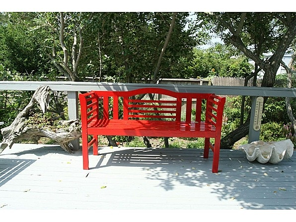 Add Some Zing To An Outdoor Bench By Painting It Bright Red!