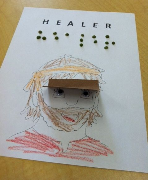 "Our preschoolers will be learning about how God is Healer through looking at how Jesus healed a blind man. This week the 4 and 5 year old children will use peas to create the word ""Healer"" in braille and color a picture of the blind man to remind them of how the man used his other senses before being healed!"