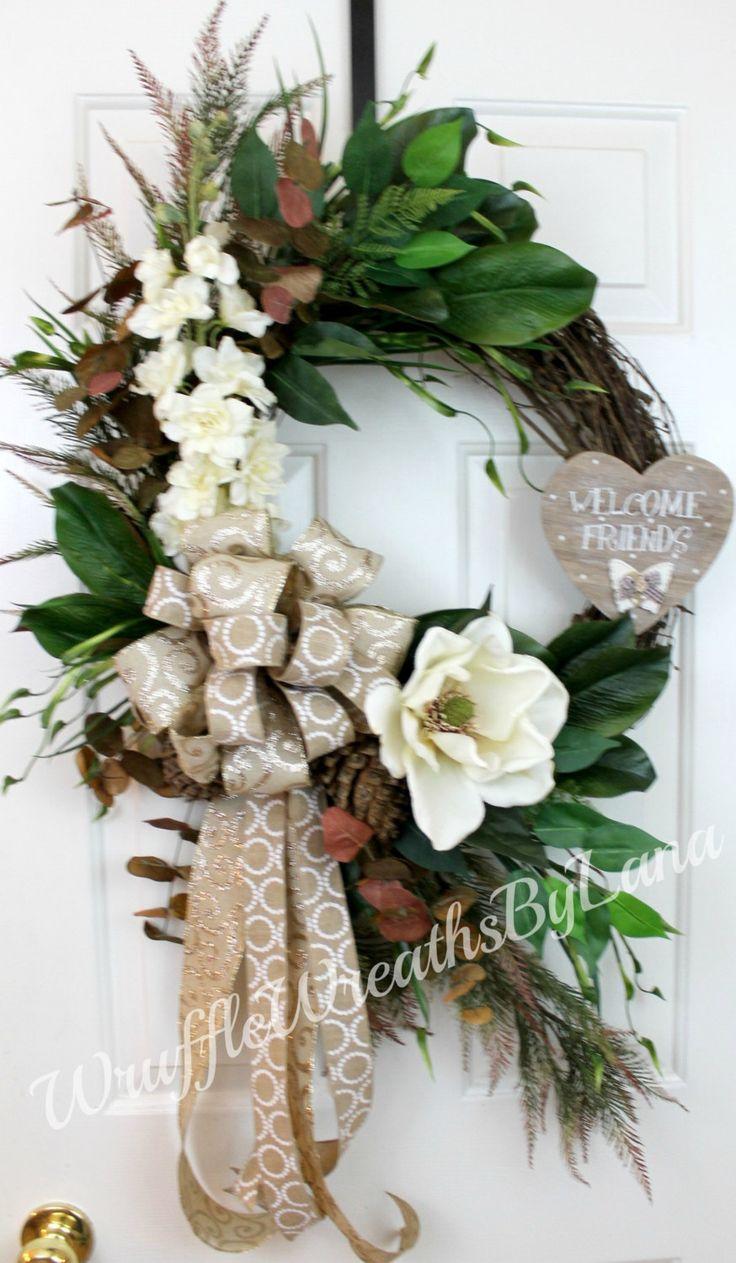 Everyday Magnolia Grapevine Wreath, Everyday Wreath, Winter Wreath, Magnolia Wreath, Grapevine Wreath by WruffleWreathsbyLana on Etsy