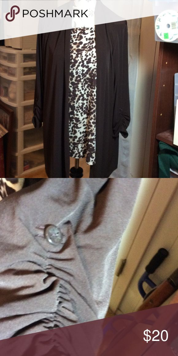 Susan Graver Tunic Set Susan Graver Tunic Set  Brown Animal . Rouch sleeves. Excellent condition Susan Graver Tops Tunics