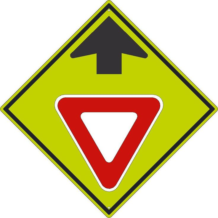 """Yield Symbol With Arrow, National Marker TM611DG, 30""""x30"""", Black On Fluorescent Yellow, 85 Percent Recycled .080"""" Diamond Grade Reflective Aluminum Pedestrian And School Traffic Sign With 2 Holes For Post Mounting - Each"""
