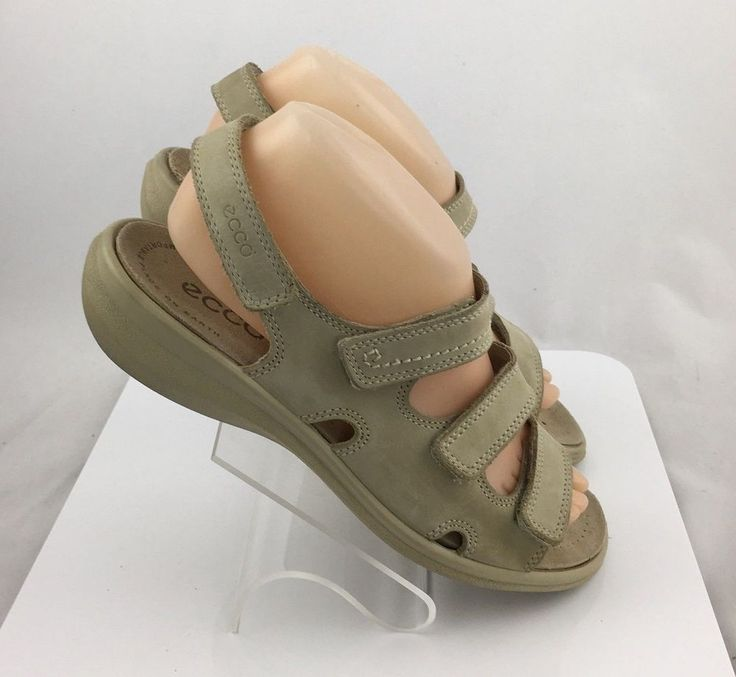 ECCO Womens 3 Strap Leather Slingback Sandals beige shoes size 39 US 8 / 8.5 #ECCO #Slingbacks #Casual