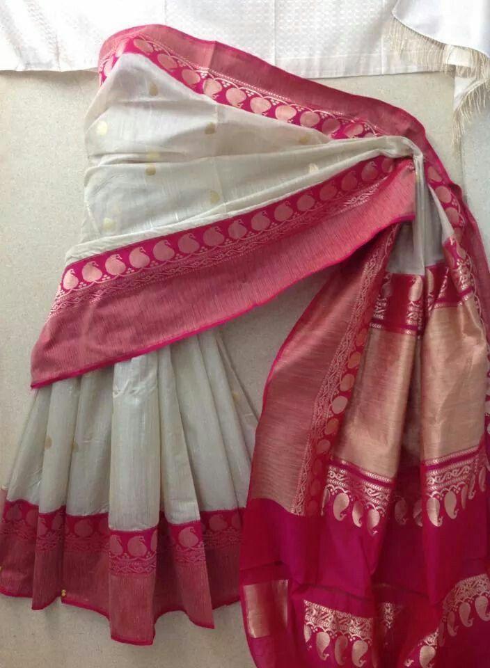 white and rani Banarasi silk saree