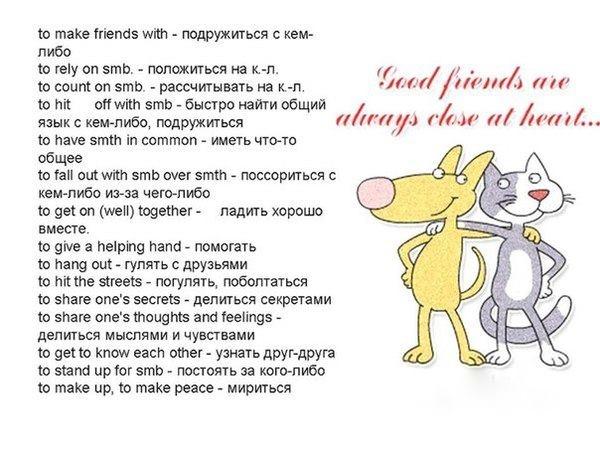 Красивые и полезные выражения на английском языке на тему дружбы