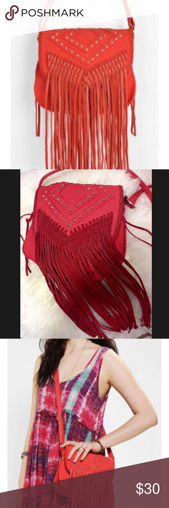 Deena & Ozzy red fringe bag Very stylish red fringe bag! Deena & Ozzy Bags Crossbody Bags