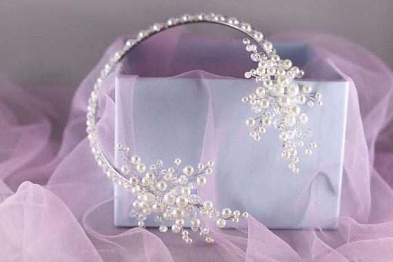 Tocado de novia boda cabello vid novia vid por DemiBridal en Etsy