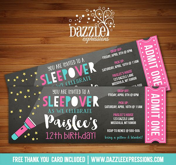 Printable Chalkboard Sleepover Ticket Birthday Invitation | Slumber Party | Movie Night Party | Camping | Glamping | Flash Light | Tween, Girls, Teenager | Gold Glitter | DIY | Digital File | Party Decorations Available | Signs | Cupcake Toppers | Water Bottle Labels | Favor Tags | Popcorn Box | Banner | Food Labels | www.dazzleexpressions.com More