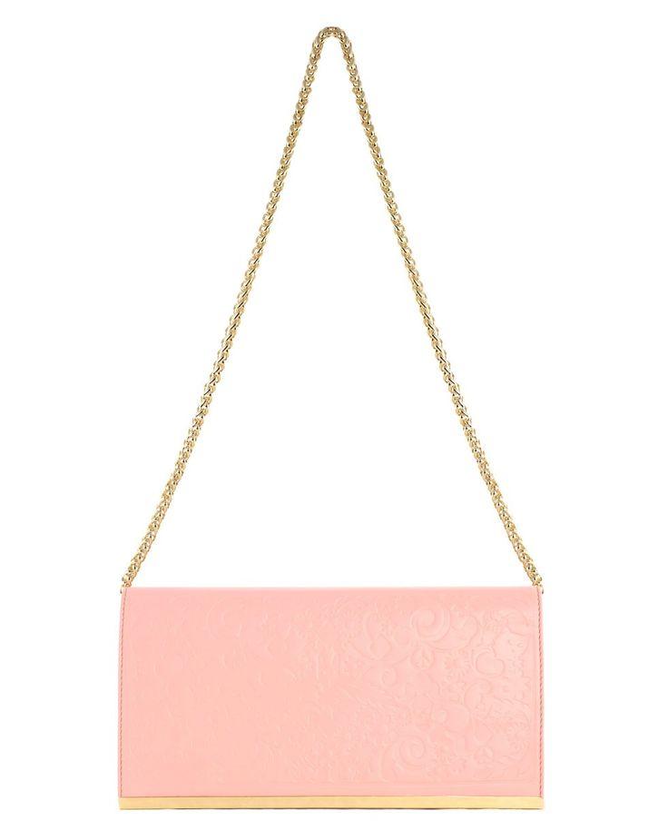 Embossed Filigree Clutch in Pink by Karen Walker - Karen Walker