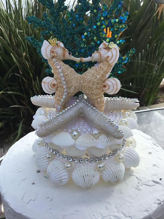 Kissing Seahorses Starfish Wedding Cake Topper Starfish