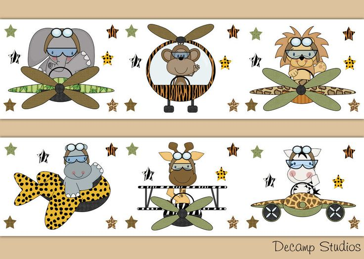 Safari Animal Airplane Wallpaper Border Wall Art Decals Jungle Nursery Stickers #DecampStudios