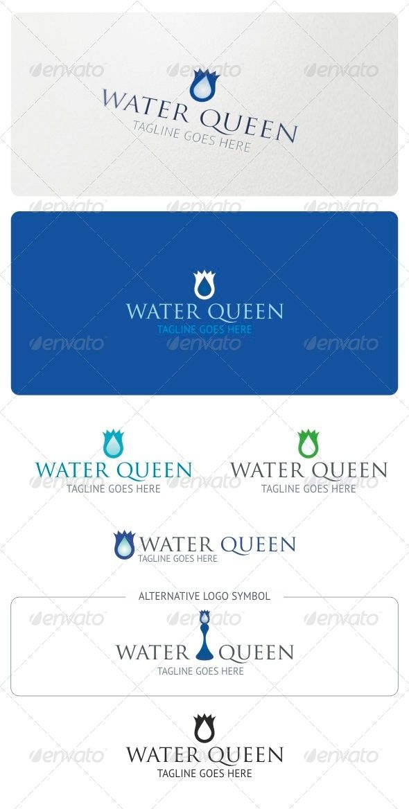 Water Queen Logo Template — Vector EPS #mineral #tear • Available here → https://graphicriver.net/item/water-queen-logo-template/5208916?ref=pxcr